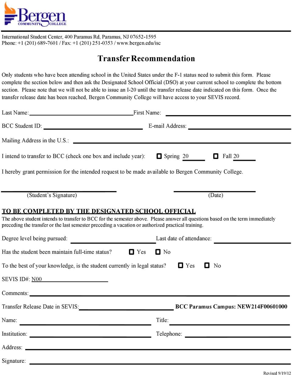 Please note that we will not be able to issue an I-20 until the transfer release date indicated on this form.
