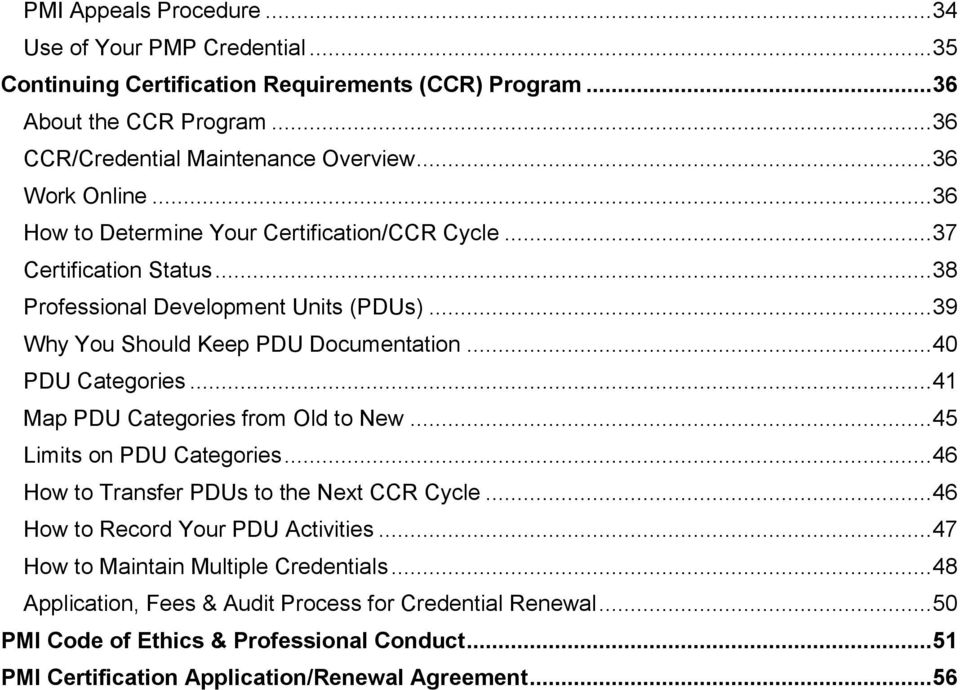 Table of Contents How to Use the PMP Credential Handbook...1 About ...