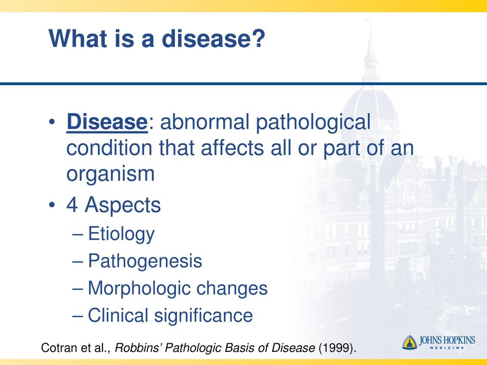 or part of an organism 4 Aspects Etiology Pathogenesis