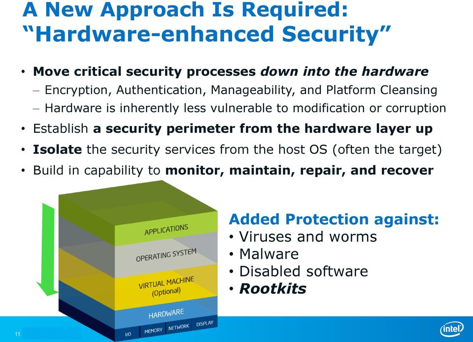Establish a security perimeter from the hardware layer up Isolate the security services from the host OS (often the target)
