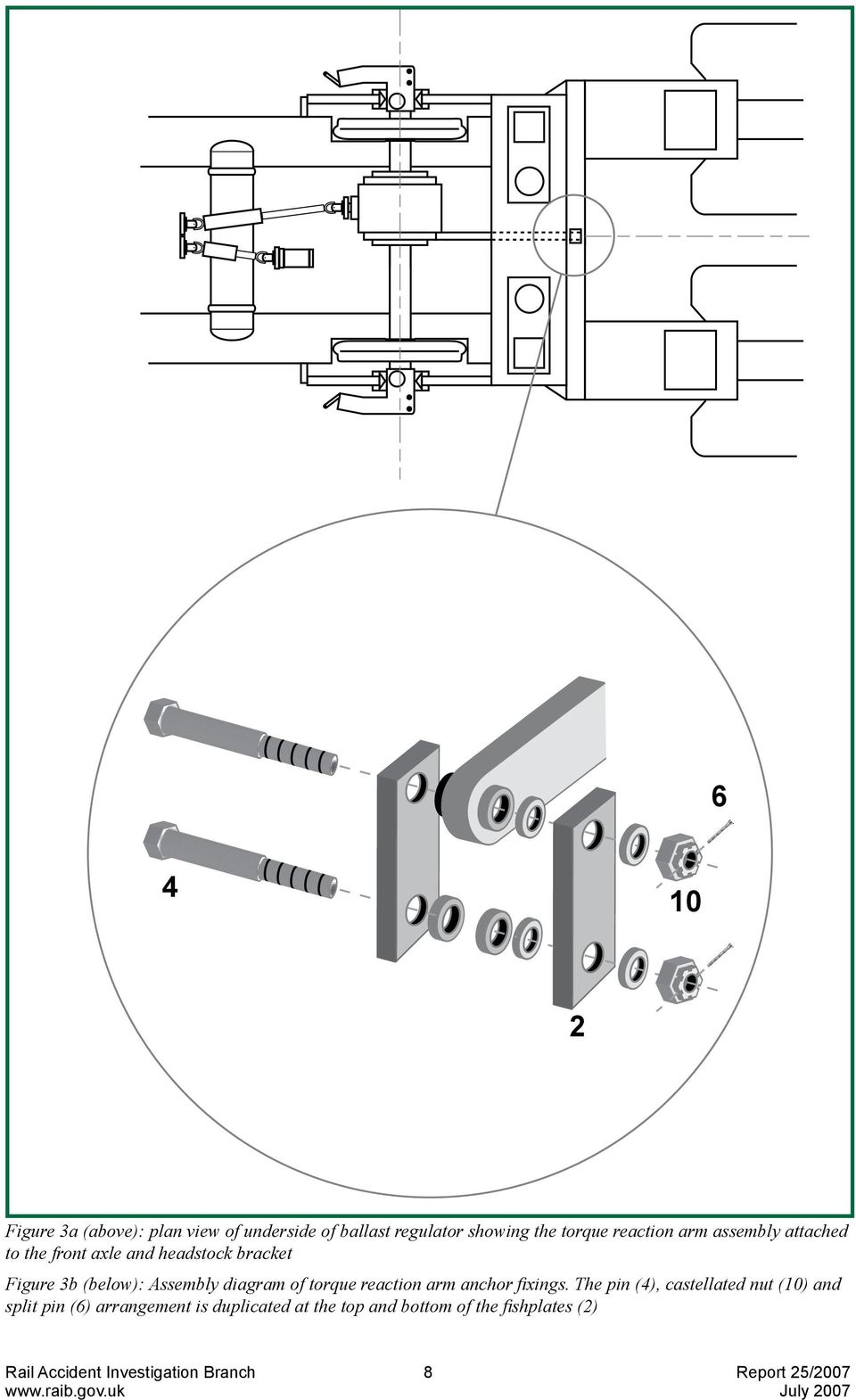 Assembly diagram of torque reaction arm anchor fixings.