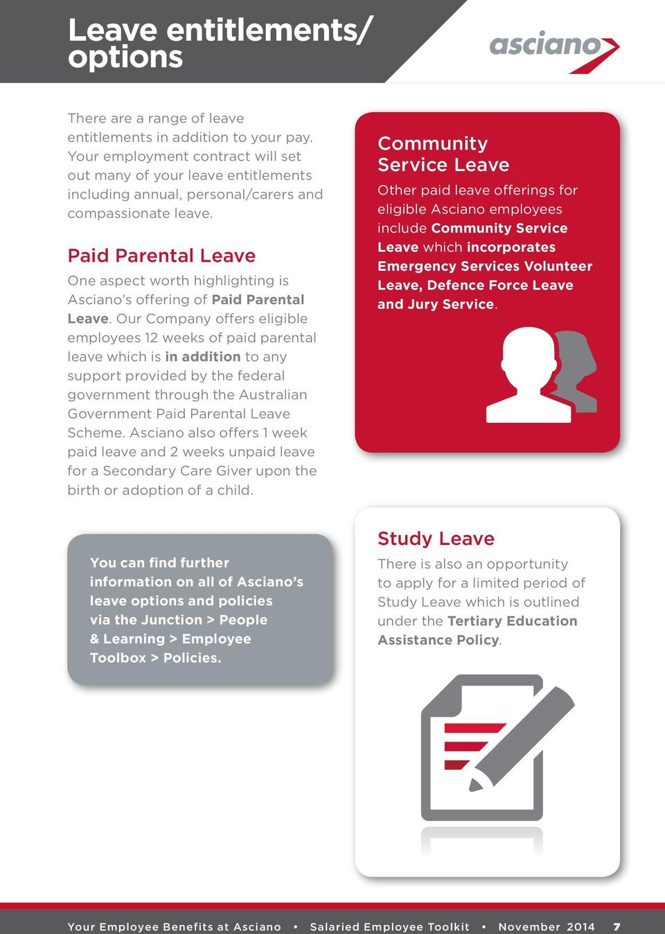 Paid Parental Leave One aspect worth highlighting is Asciano s offering of Paid Parental Leave.