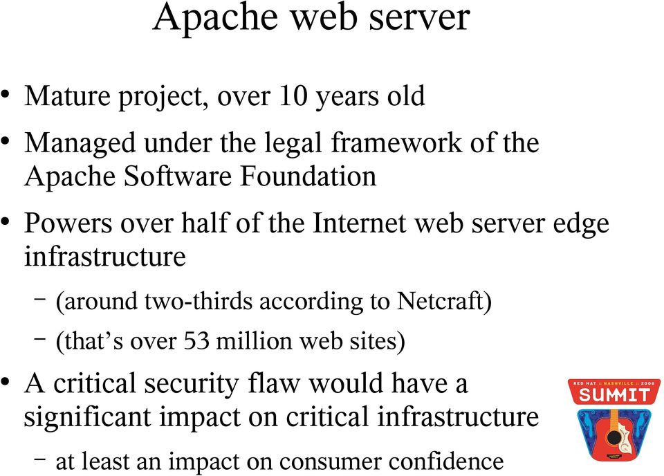 (around two-thirds according to Netcraft) (that s over 53 million web sites) A critical security