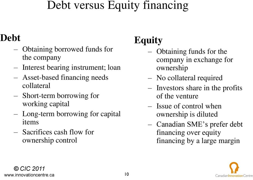 control Equity Obtaining funds for the company in exchange for ownership No collateral required Investors share in the profits of