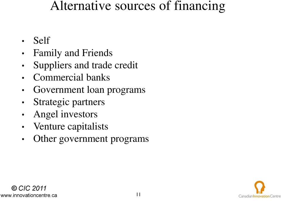 Government loan programs Strategic partners Angel