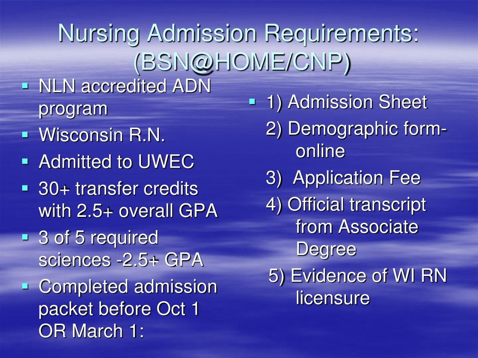 5+ GPA Completed admission packet before Oct 1 OR March 1: (BSN@HOME/CNP) 1) Admission Sheet