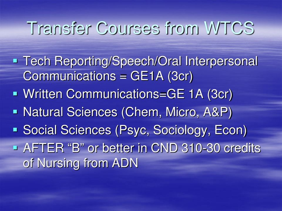 Communications=GE 1A (3cr) Natural Sciences (Chem, Micro, A&P)