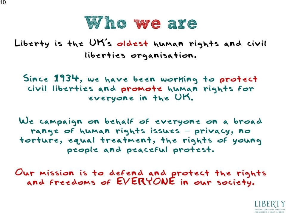 We campaign on behalf of everyone on a broad range of human rights issues privacy, no torture, equal treatment,
