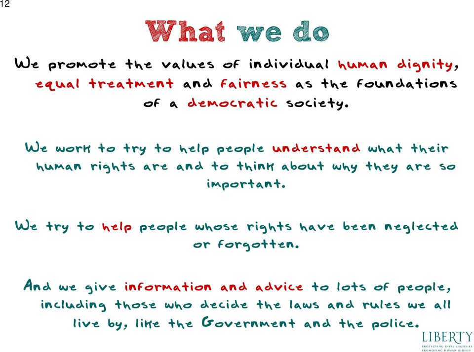 We work to try to help people understand what their human rights are and to think about why they are so important.