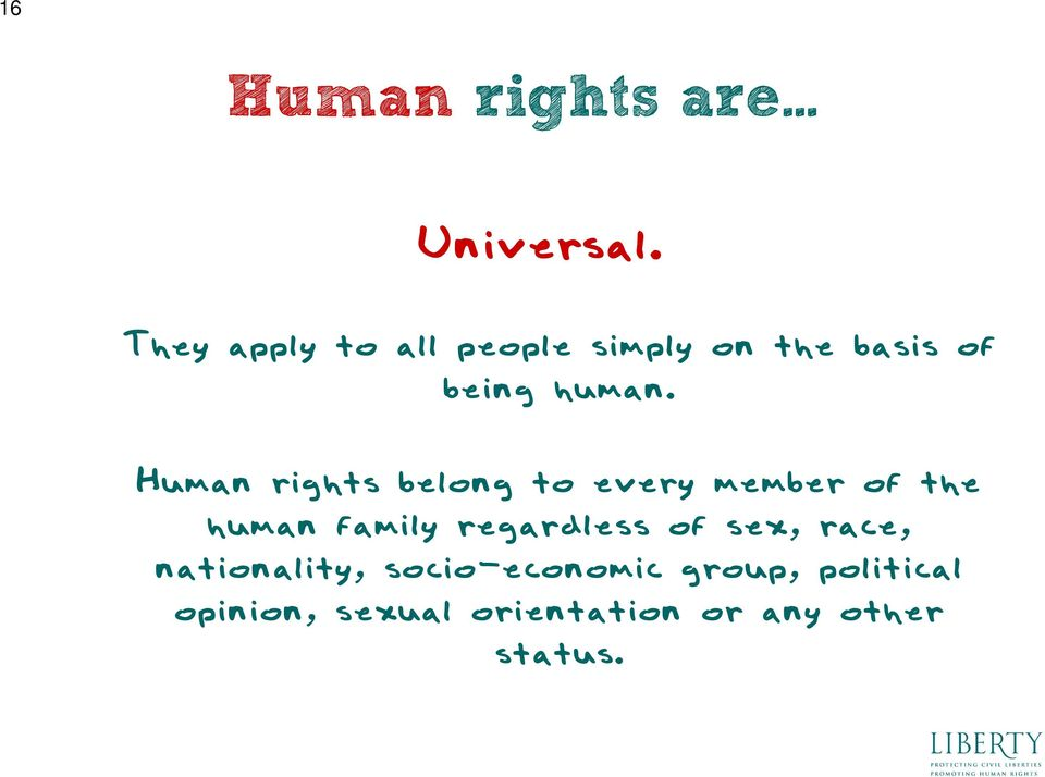 Human rights belong to every member of the human family regardless