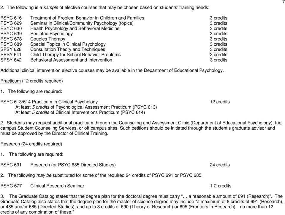 Special Topics in Clinical Psychology 3 credits SPSY 628 Consultation Theory and Techniques 3 credits SPSY 641 Child Therapy for School Behavior Problems 3 credits SPSY 642 Behavioral Assessment and