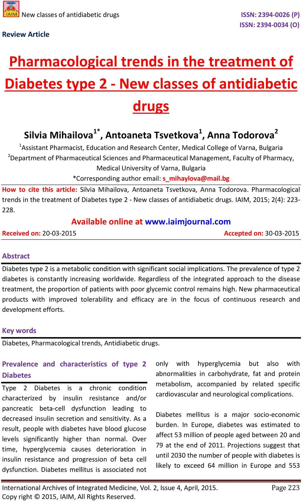 *Corresponding author email: s_mihaylova@mail.bg How to cite this article: Silvia Mihailova, Antoaneta Tsvetkova, Anna Todorova.