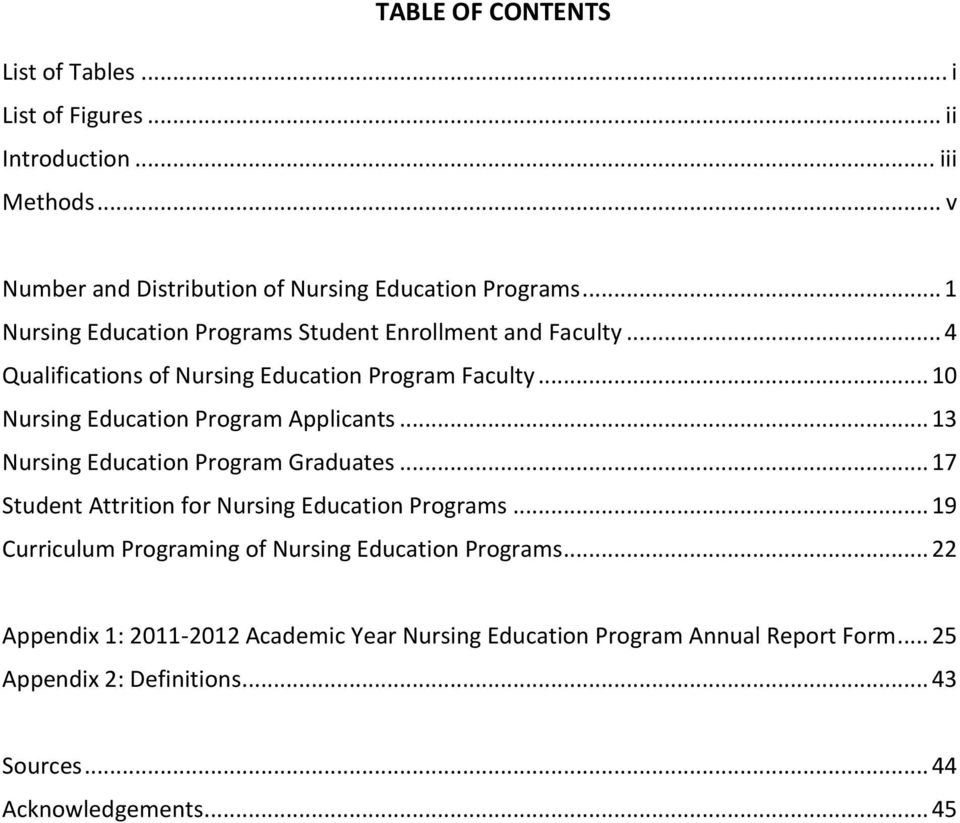 .. 10 Nursing Education Program Applicants... 13 Nursing Education Program Graduates... 17 Student Attrition for Nursing Education Programs.