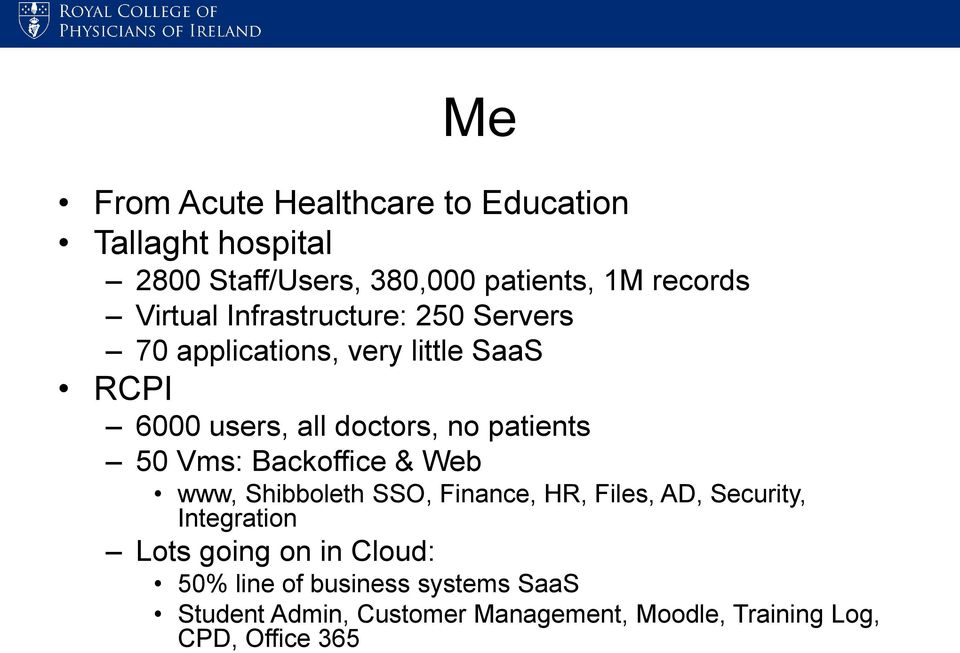 patients 50 Vms: Backoffice & Web www, Shibboleth SSO, Finance, HR, Files, AD, Security, Integration Lots