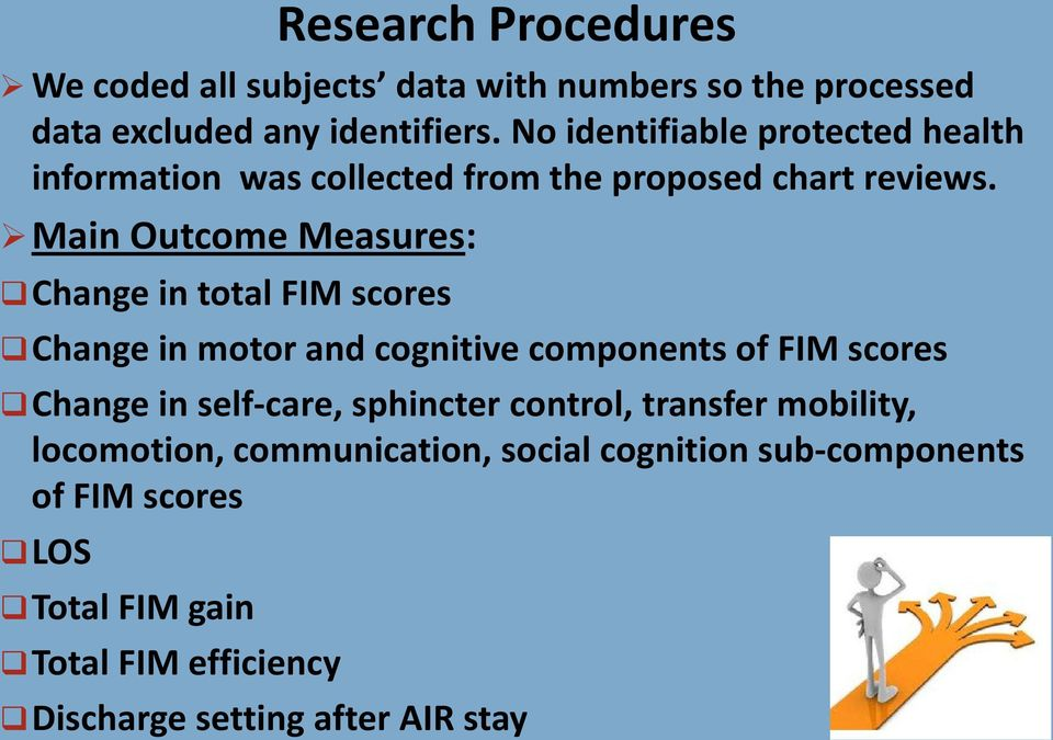 Main Outcome Measures: Change in total FIM scores Change in motor and cognitive components of FIM scores Change in self-care,
