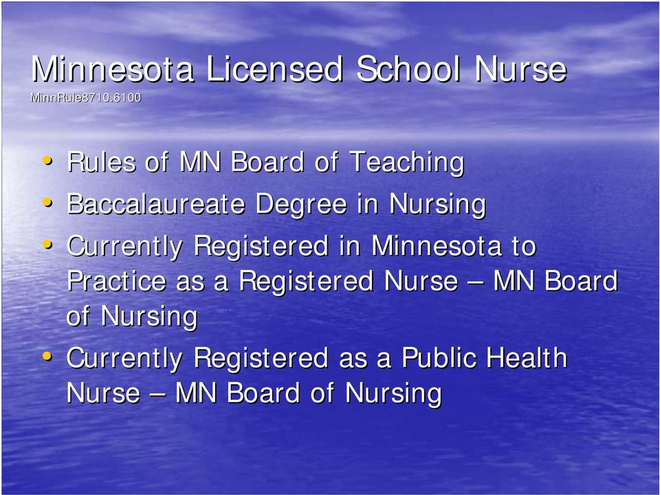 Currently Registered in Minnesota to Practice as a Registered