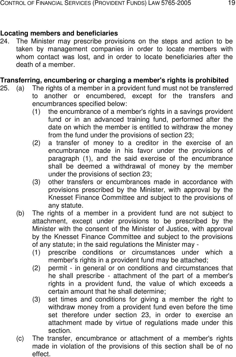 death of a member. Transferring, encumbering or charging a member's rights is prohibited 25.