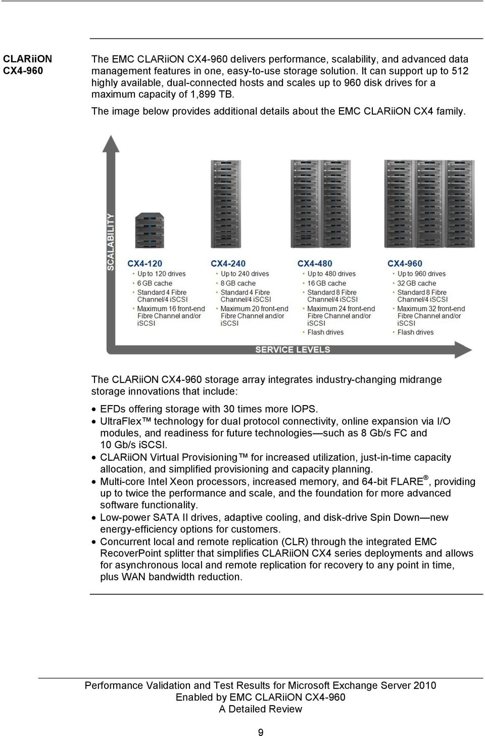 The image below provides additional details about the EMC CLARiiON CX4 family.