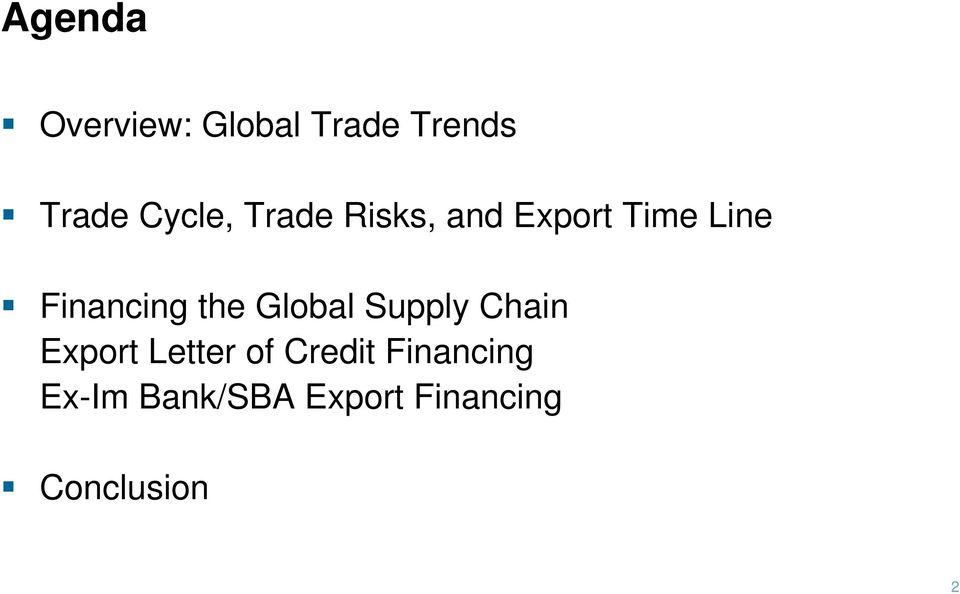 Financing the Global Supply Chain Export Letter
