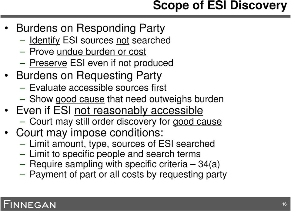 reasonably accessible Court may still order discovery for good cause Court may impose conditions: Limit amount, type, sources of ESI