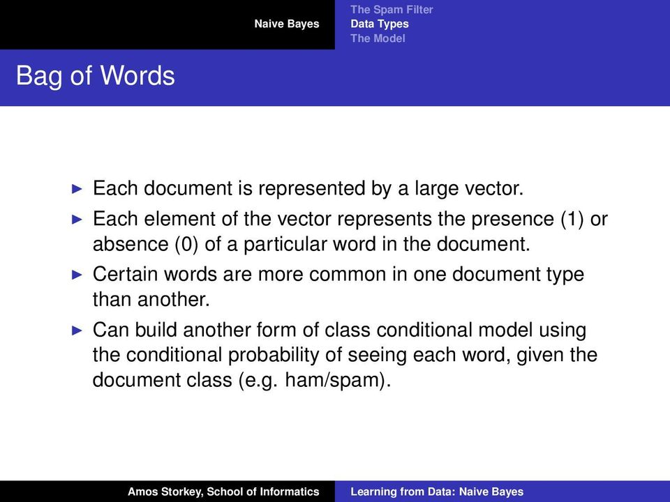 the document. Certain words are more common in one document type than another.