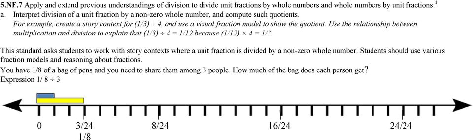 Use the relationship between multiplication and division to explain that (1/3) 4 = 1/12 because (1/12) 4 = 1/3.