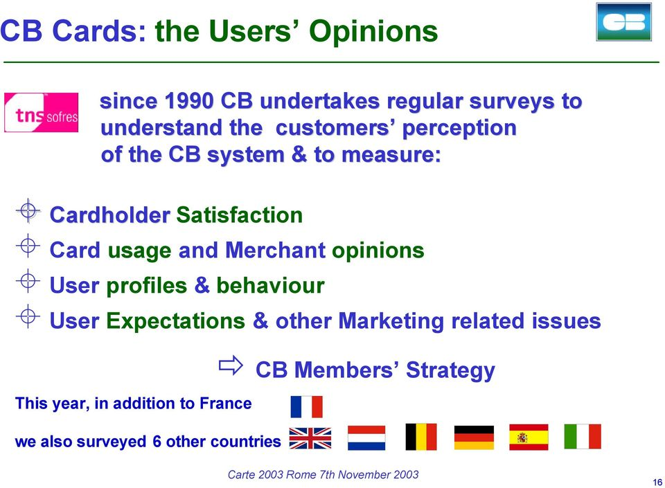 Merchant opinions User profiles & behaviour User Expectations & other Marketing related