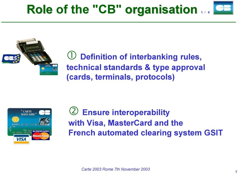 (cards, terminals, protocols) 2 Ensure interoperability