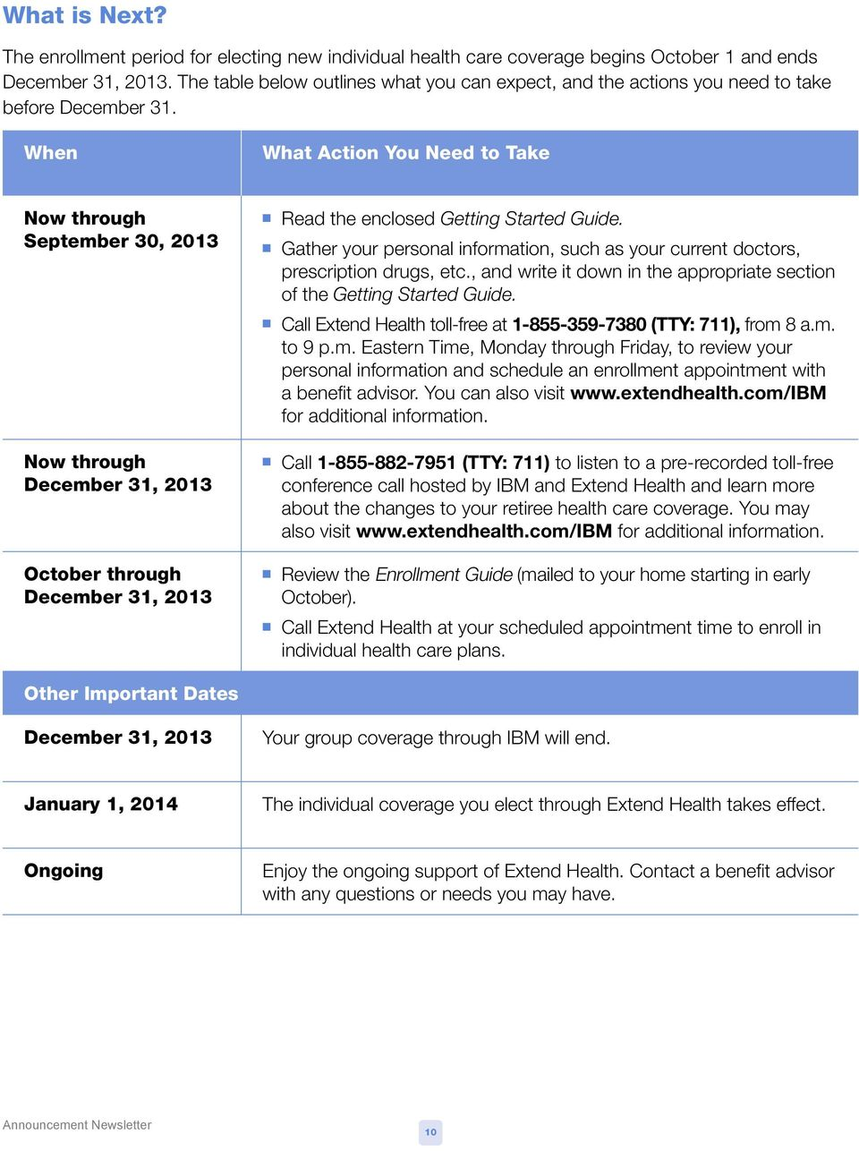 When What Action You Need to Take Now through September 30, 2013 Now through December 31, 2013 October through December 31, 2013 n Read the enclosed Getting Started Guide.
