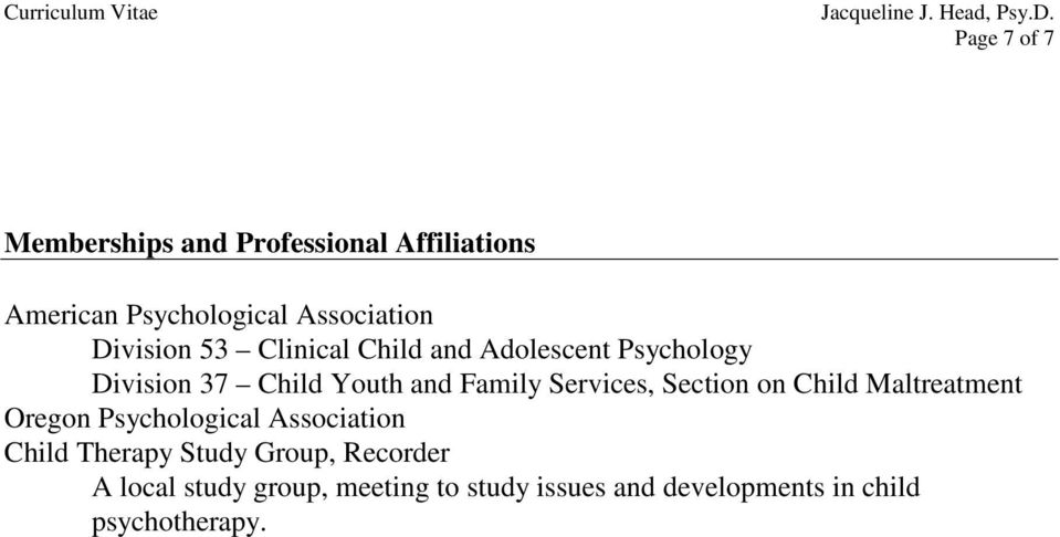 Family Services, Section on Child Maltreatment Oregon Psychological Association Child Therapy