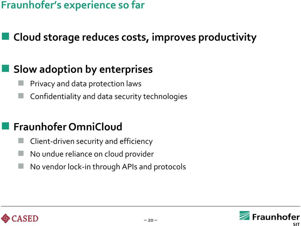 data security technologies Fraunhofer OmniCloud Client-driven security and