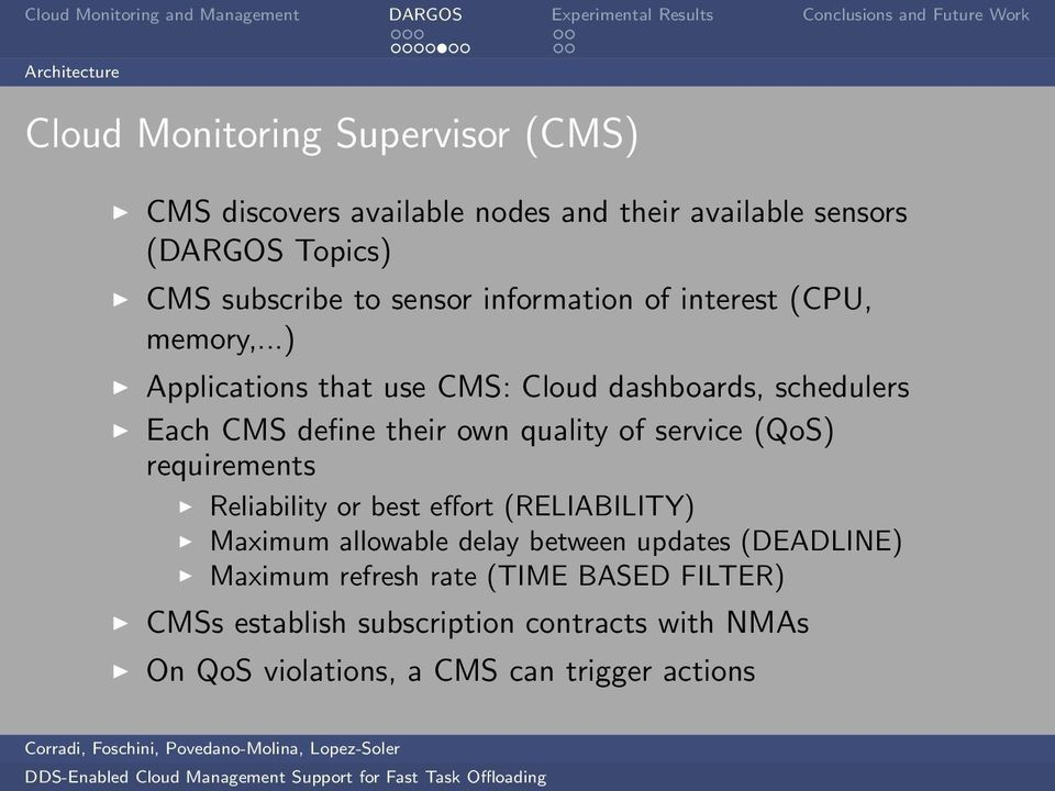 ..) Applications that use CMS: Cloud dashboards, schedulers Each CMS define their own quality of service (QoS) requirements