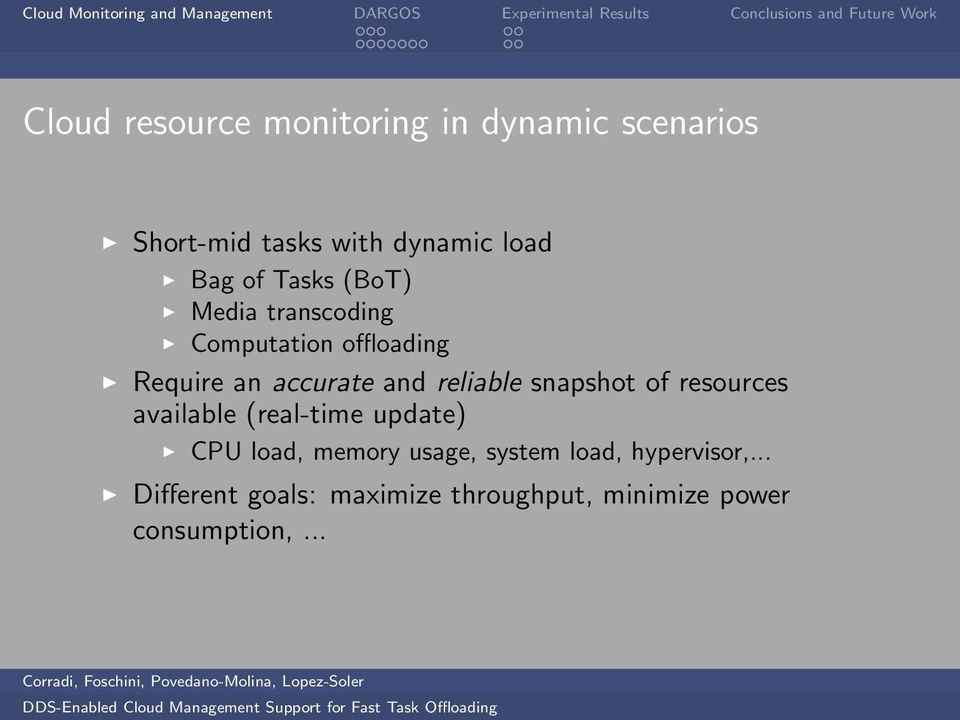 reliable snapshot of resources available (real-time update) CPU load, memory usage,