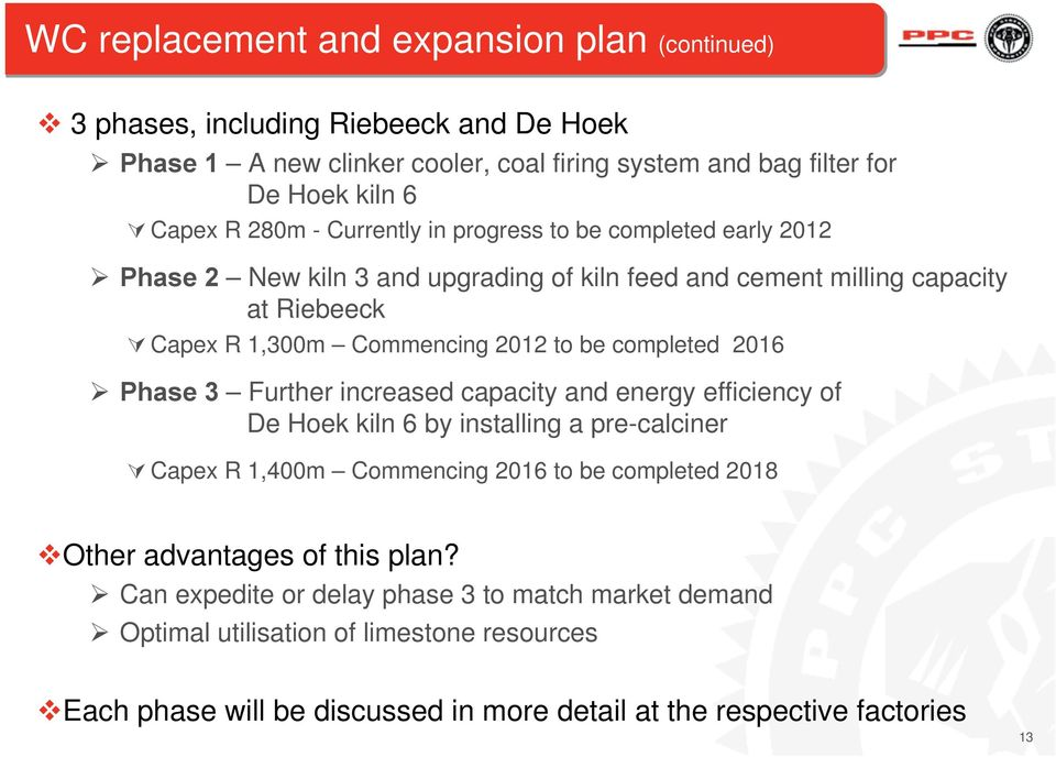 completed 2016 Phase 3 Further increased capacity and energy efficiency of De Hoek kiln 6 by installing a pre-calciner Capex R 1,400m Commencing 2016 to be completed 2018 Other