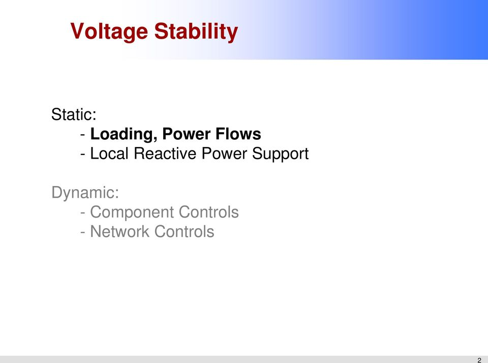 Reactive Power Support Dynamic: