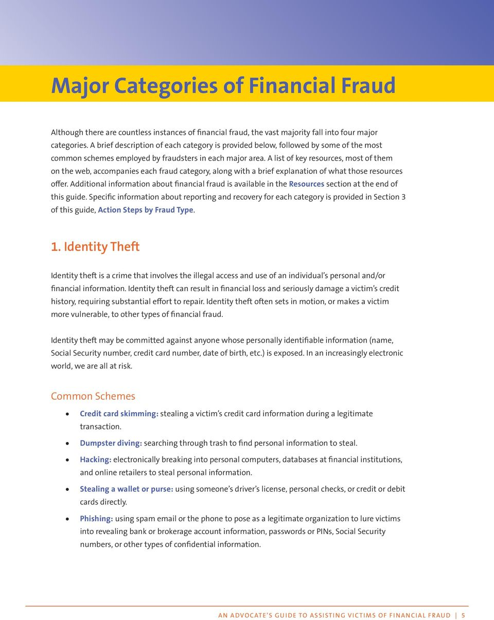A list of key resources, most of them on the web, accompanies each fraud category, along with a brief explanation of what those resources offer.