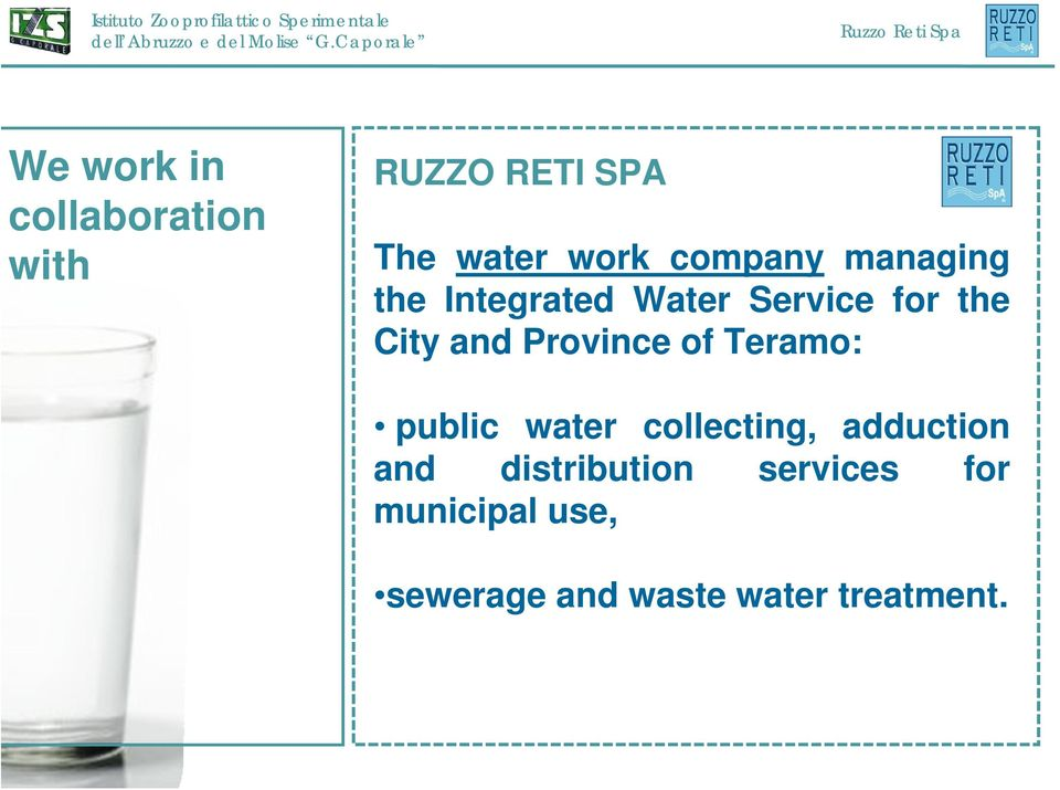 Province of Teramo: public water collecting, adduction and