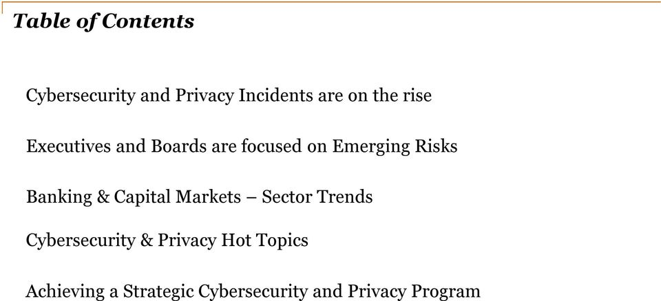 Banking & Capital Markets Sector Trends Cybersecurity &