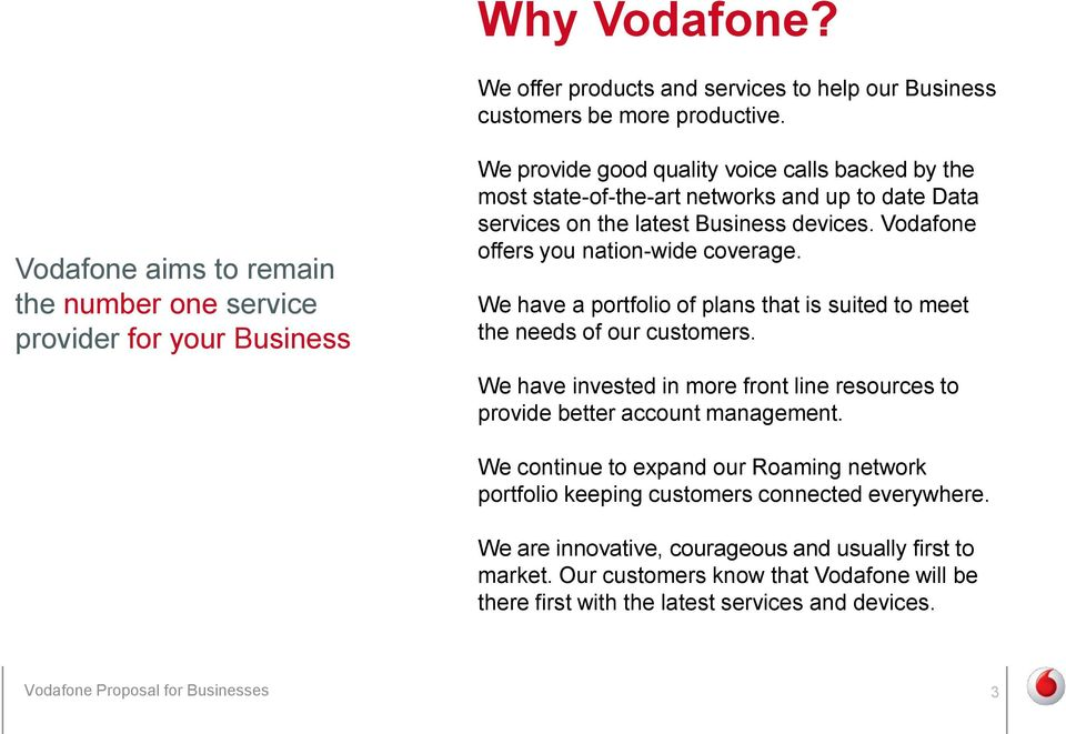 latest Business devices. Vodafone offers you nation-wide coverage. We have a portfolio of plans that is suited to meet the needs of our customers.