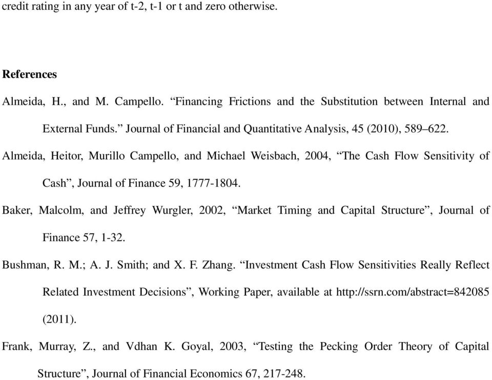 Baker, Malcolm, and Jeffrey Wurgler, 2002, Market Timing and Capital Structure, Journal of Finance 57, 1-32. Bushman, R. M.; A. J. Smith; and X. F. Zhang.