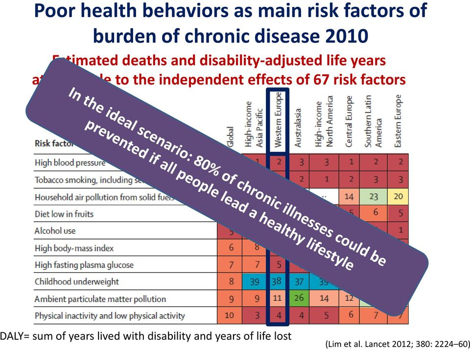 the independent effects of 67 risk factors DALY= sum of years lived with