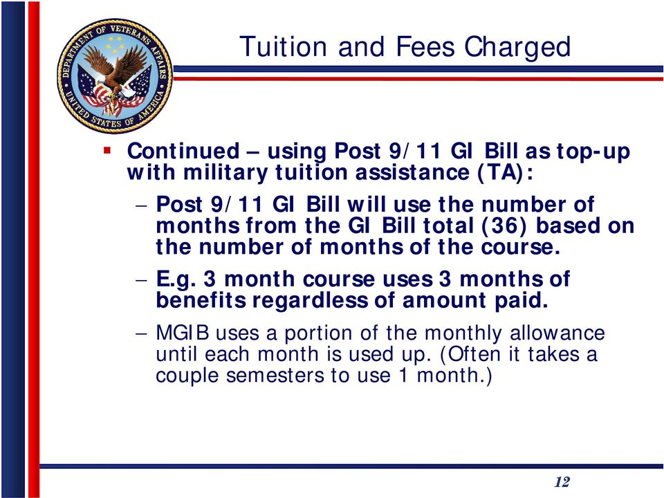 of the course. E.g. 3 month course uses 3 months of benefits regardless of amount paid.