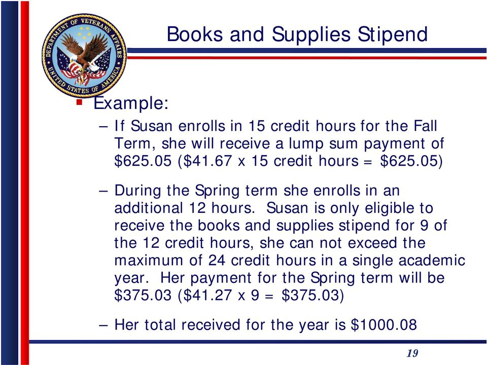Susan is only eligible to receive the books and supplies stipend for 9 of the 12 credit hours, she can not exceed the maximum of 24