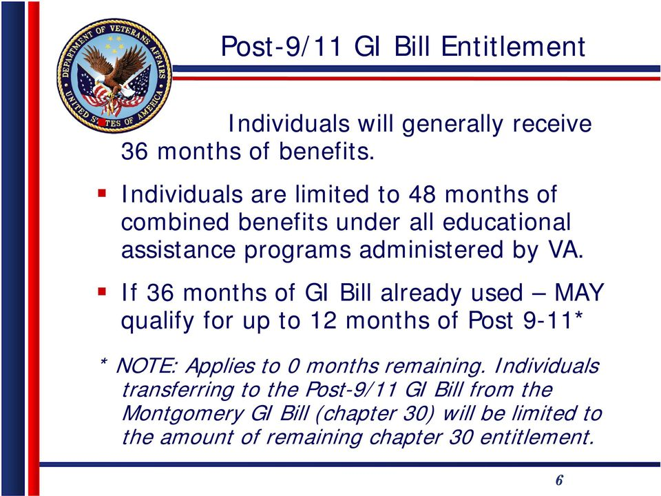 If 36 months of GI Bill already used MAY qualify for up to 12 months of Post 9-11* * NOTE: Applies to 0 months remaining.