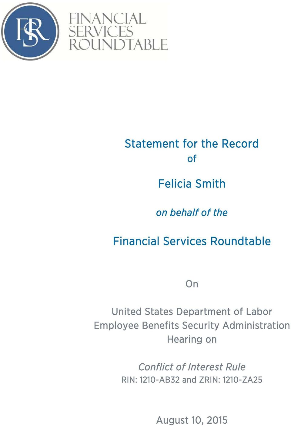 Labor Employee Benefits Security Administration Hearing on