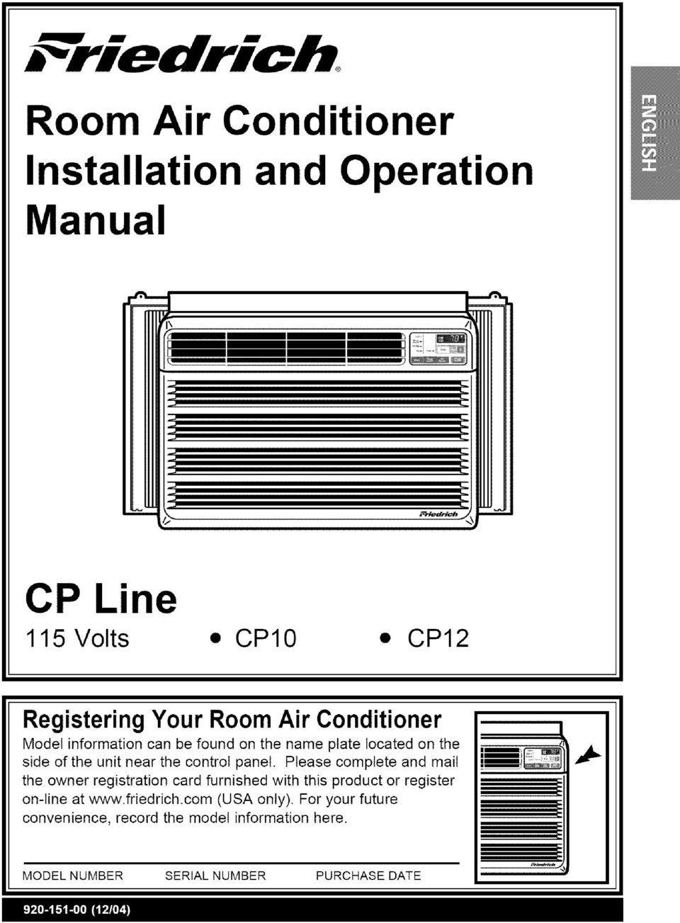 Room Air Conditioner Installation And Operation Manual Pdf Friedrich Window Unit Wiring Diagram Please Complete Mail The Owner Registration Card Furnished With This Product Or Register On