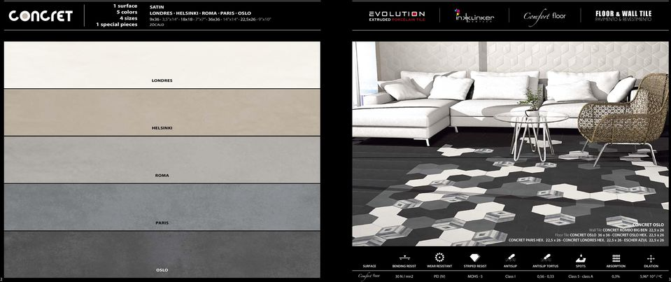 CONCRET OSLO HEX. 22,5 x 26 CONCRET PARIS HEX. 22,5 x 26 CONCRET LONDRES HEX.