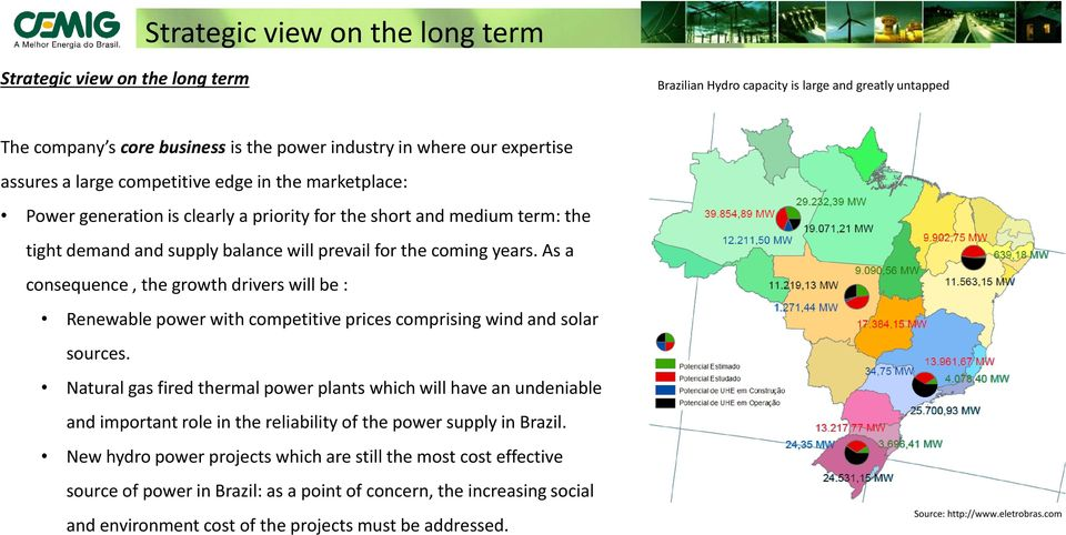 As a consequence, the growth drivers will be : Renewable power with competitive prices comprising wind and solar sources.