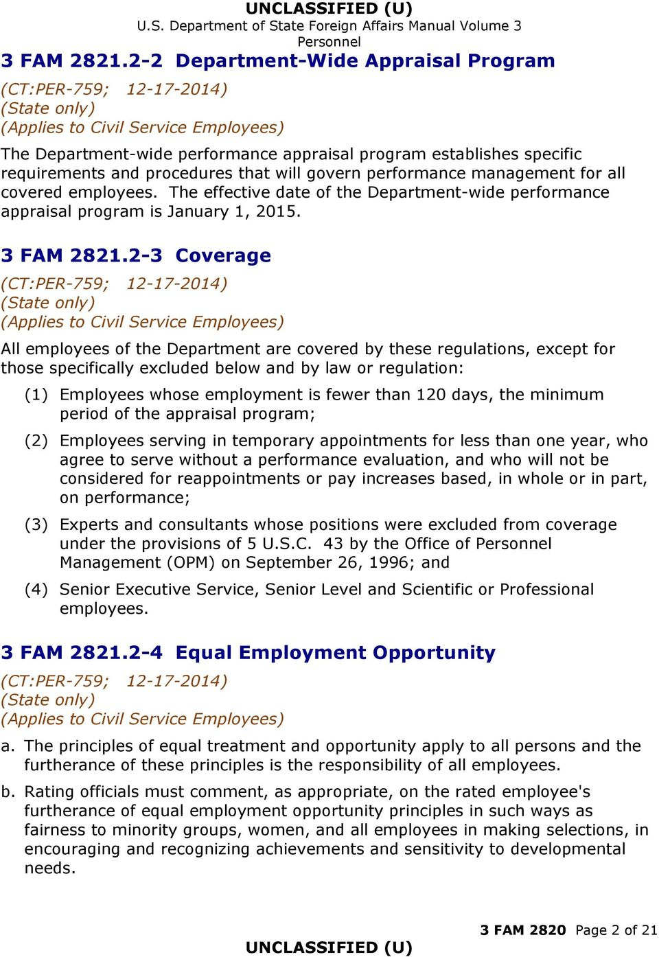 employees. The effective date of the Department-wide performance appraisal program is January 1, 2015.