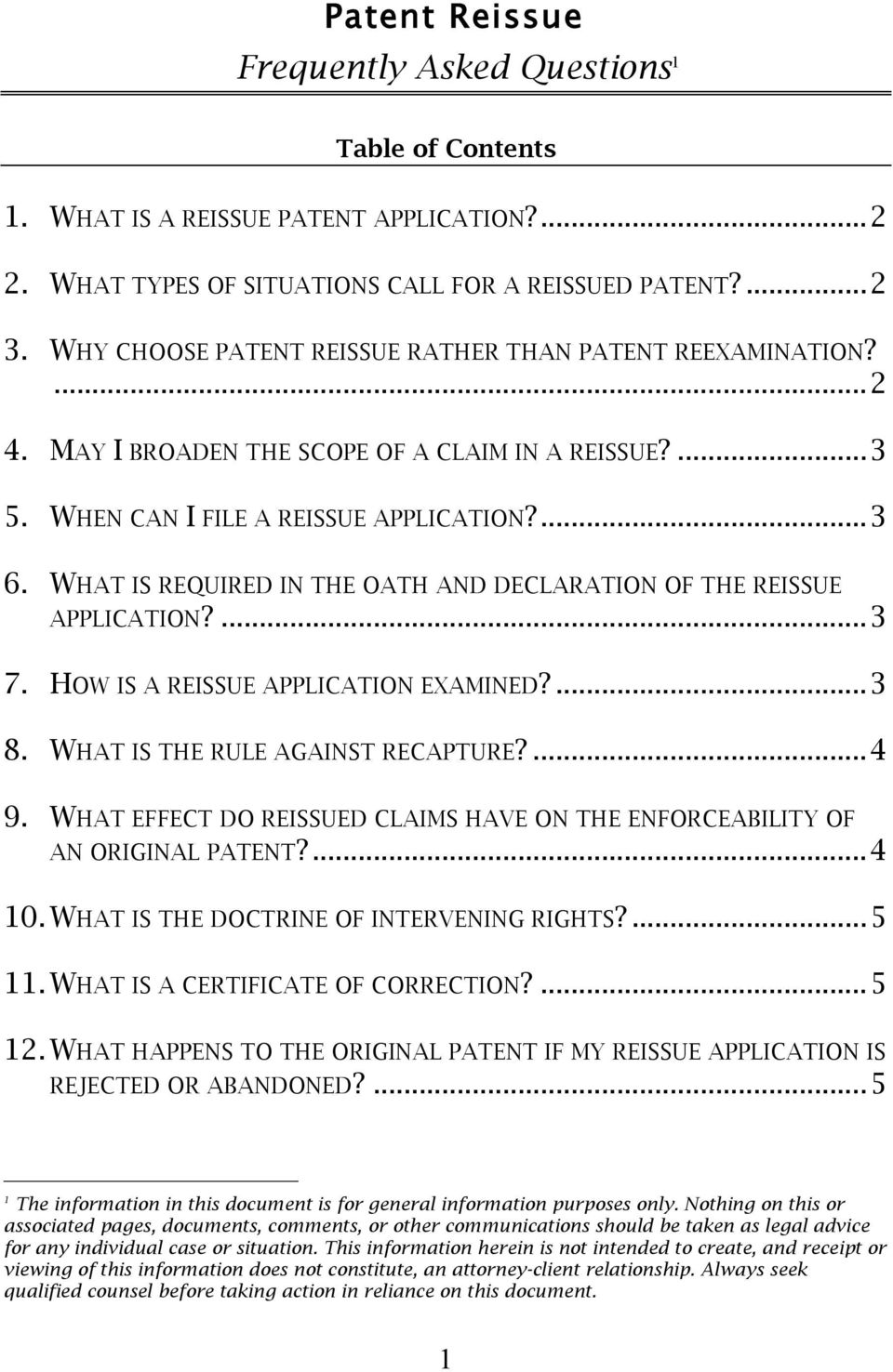 Patent Reissue Frequently Asked Questions Pdf